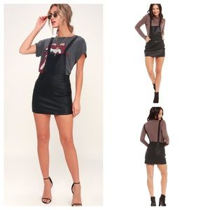 NWT BB Dakota Faux Leather Overall Dress